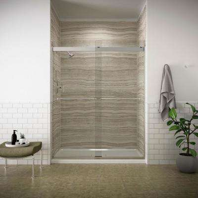 Levity 59 in. x 74 in. Frameless Sliding Shower Door in Silver finish with Handle