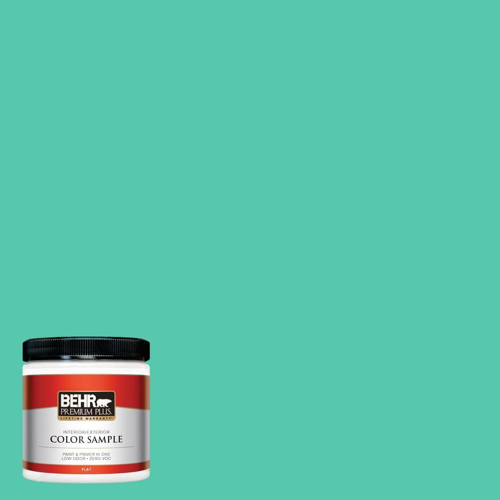BEHR Premium Plus 8 oz. #480B-4 Shoreline Green Interior/Exterior Paint Sample