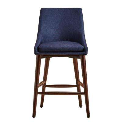 24 in. Nobleton Twilight Blue Mid Century Bar Stool (Set of 2)