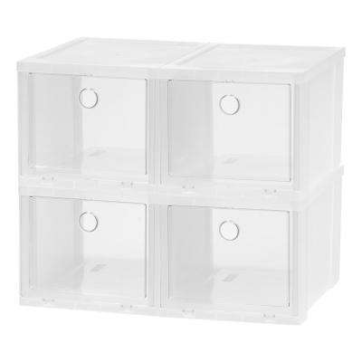 4-Pair Clear High Pull Down Front Access Shoe Box Plastic Shoe Organizer (4-Pack)