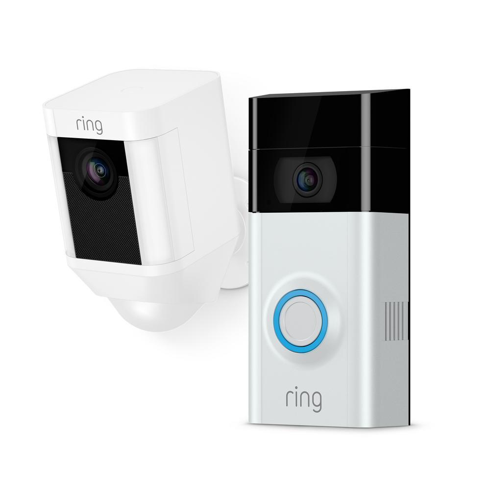 Wireless Video Door Bell 2 + Spotlight Cam Battery White