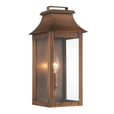 Manchester Collection 1-Light Copper Patina Outdoor Wall Lantern