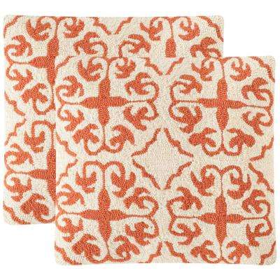 Moroccan-Hooked Soleil Square Outdoor Throw Pillow (Pack of 2)