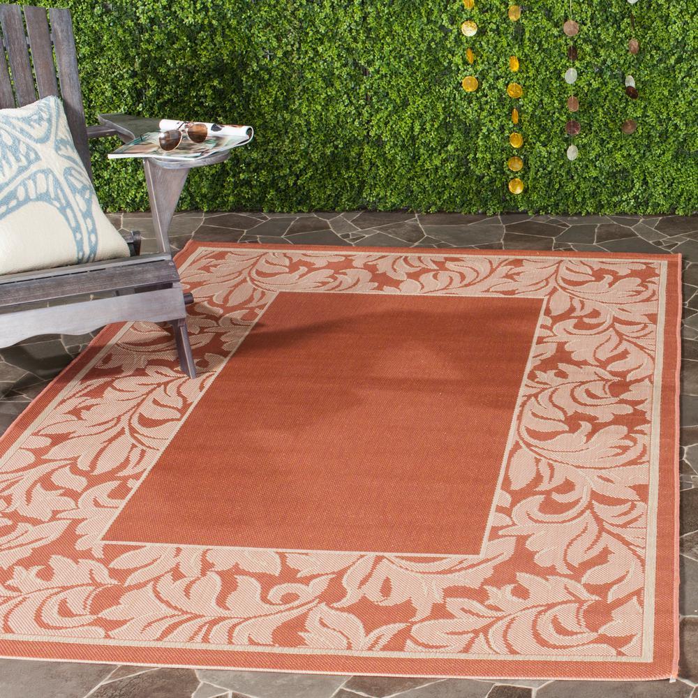 Outdoor Rug Rental: Safavieh Courtyard Terracotta/Natural 4 Ft. X 6 Ft. Indoor