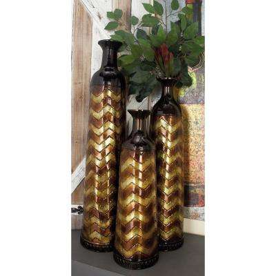 Mahogany Brown with Chocolate Brown and Light Brown Zigzag Patterns Tall Tin Decorative Vases (Set of 3)