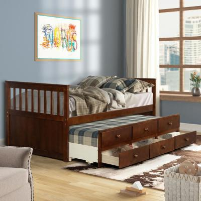 Walnut Twin Platform Bed with Trundle and Drawers