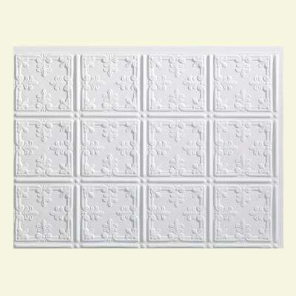 Traditional 10 18 in. x 24 in. Matte White Vinyl Decorative Wall Tile Backsplash 18 sq. ft. Kit