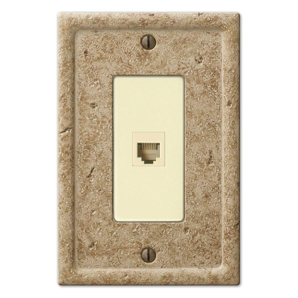 Creative Accents 1-Gang Stone Phone Jack Wall Plate - Beige-DISCONTINUED