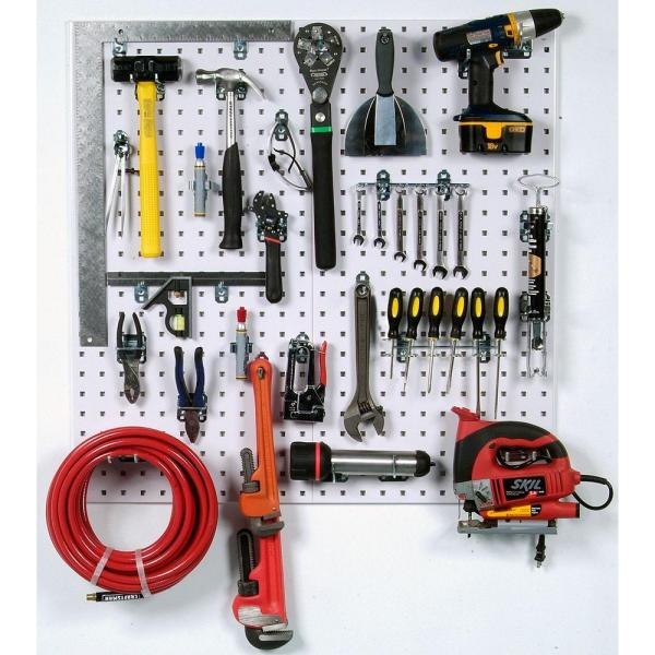 3/8 in. White Steel Square Hole Pegboards with LocHook Assortment (30-Pieces)