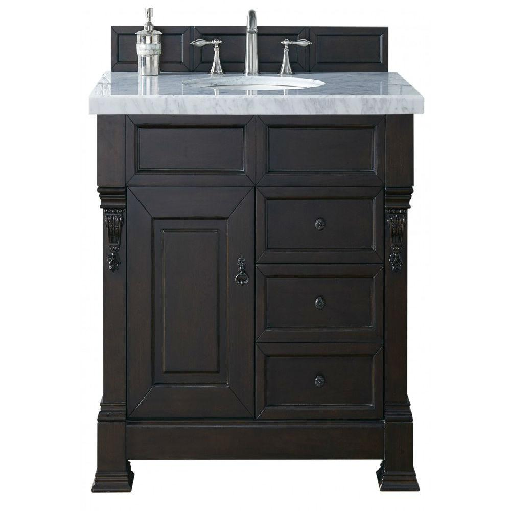 James Martin Signature Vanities Brookfield 36 in. W Single Vanity with Drawers in Burn Mahogany with Marble Vanity Top in Carrara White with White Basin
