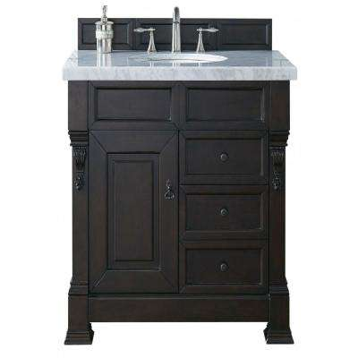 Brookfield 36 in. W Single Vanity with Drawers in Burn Mahogany with Marble Vanity Top in Carrara White with White Basin