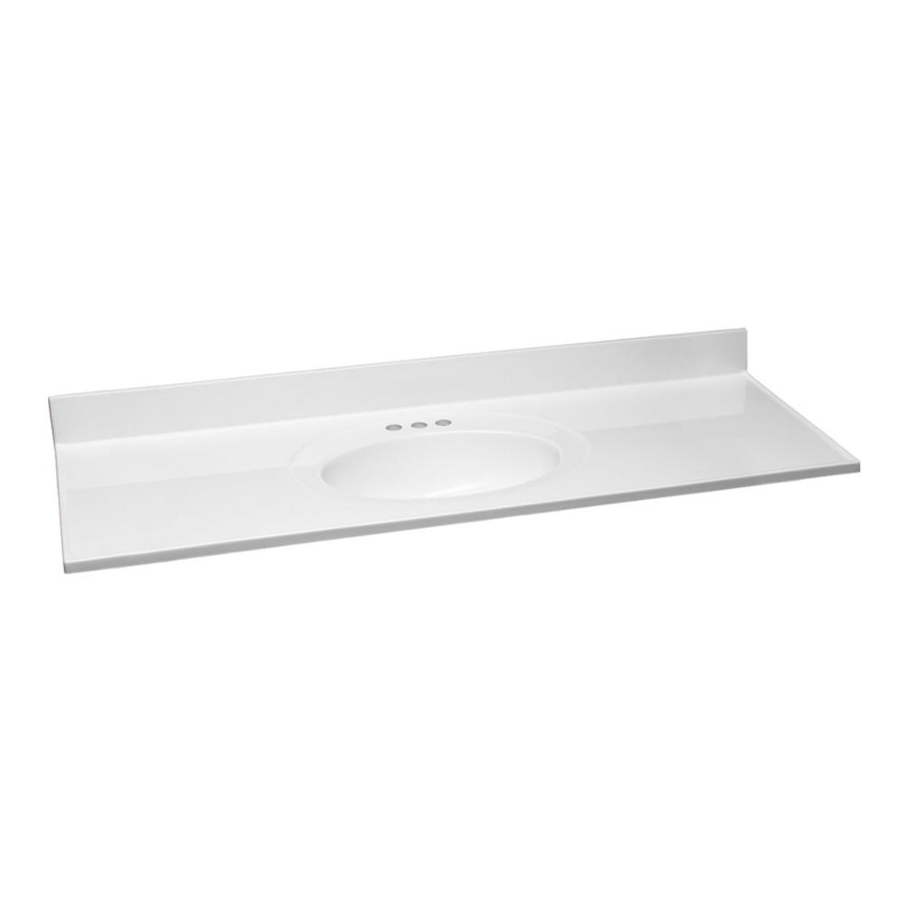 Design House 61 in. W Cultured Marble Vanity Top in White with Solid White Bowl