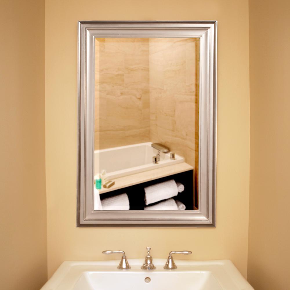 36 in. x 24 in. x 1 in. Brushed Nickel Rectangular Vanity Framed Mirror