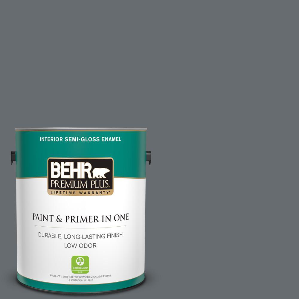 BEHR Premium Plus 1 gal. #770F-5 Dark Ash Semi-Gloss Enamel Low Odor Interior Paint and Primer in One