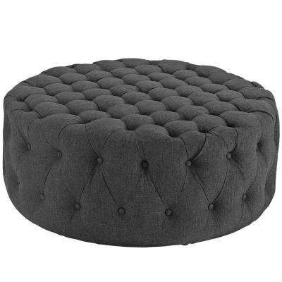 Gray Amour Upholstered Fabric Ottoman