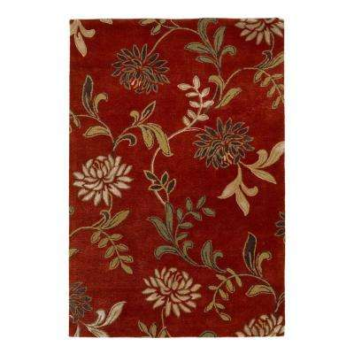 Perfect Flowers Red 8 ft. x 10 ft. Area Rug