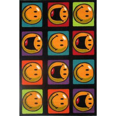 Smiley Happy and Smiling Multi Colored 3 ft. x 5 ft. Area Rug