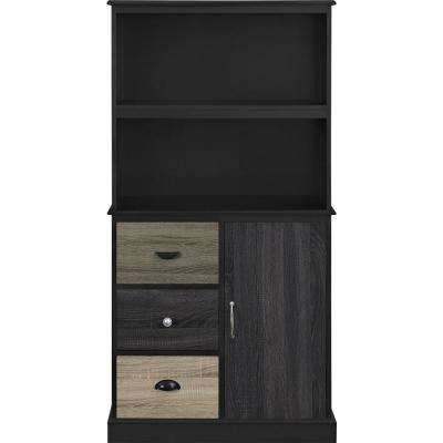 Newbridge Black Storage Bookcase With Multicolored Door And Drawer Fronts