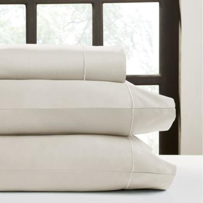 Hotel Concepts 4-Piece Ash Solid 550 Thread Count Cotton Queen Sheet Set