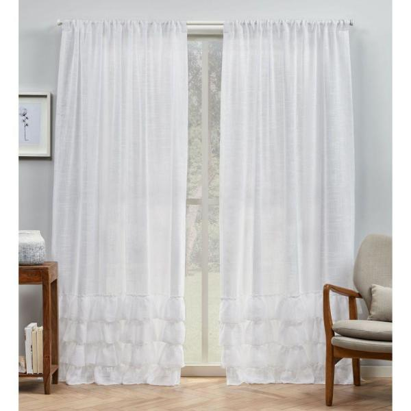 Jacinta White Bottom Ruffle Sheer Rod Pocket Top Curtain Panel 54 in. W x 96 in. L (2 Panels)