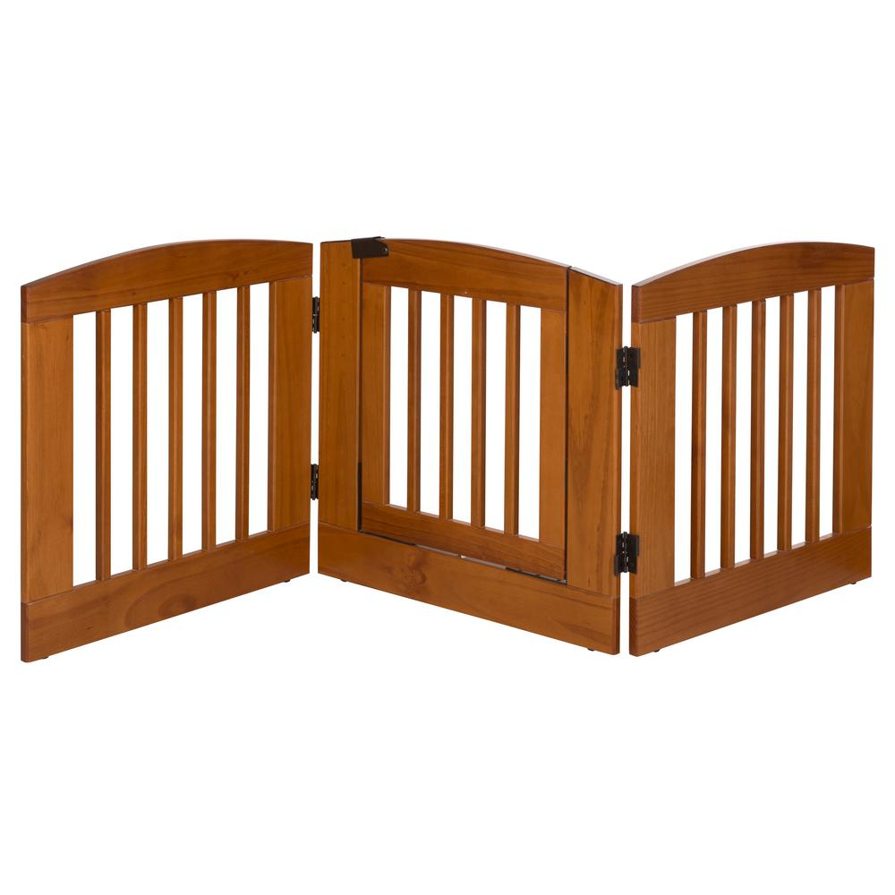 Ruffluv 24 in. H Wood 3-Panel Expansion Chestnut Pet Gate with