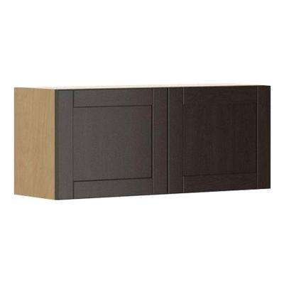 Ready to Assemble 36x15x12.5 in. Barcelona Wall Bridge Cabinet in Maple Melamine and Door in Dark Brown