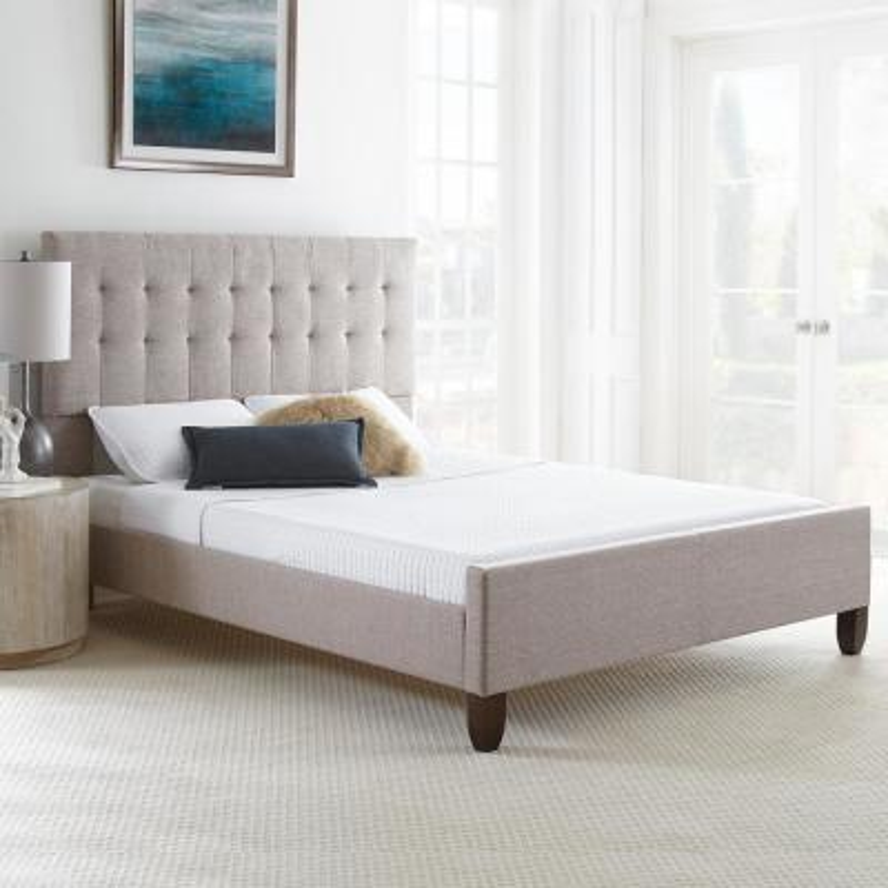 Hayleigh Tan Tufted Tweed Upholstered Platform Bed Frame