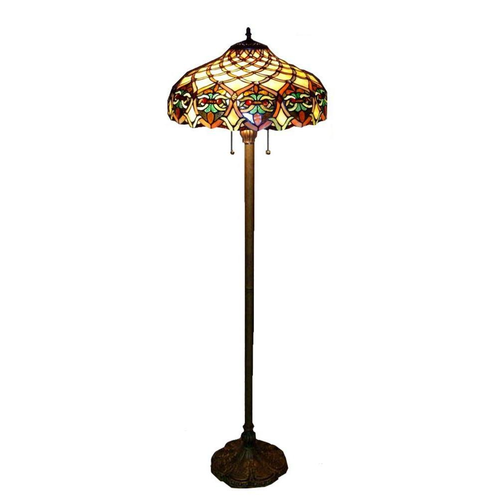 Warehouse of tiffany floor lamps lamps the home depot antique bronze ariel stained glass floor lamp with pull chain switch mozeypictures Image collections