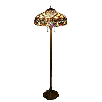 60 in. Antique Bronze Ariel Stained Glass Floor Lamp with Pull Chain Switch