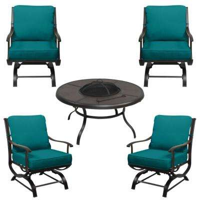 Redwood Valley Black 5-Piece Steel Outdoor Patio Fire Pit Seating Set with Sunbrella Peacock Blue-Green Cushions