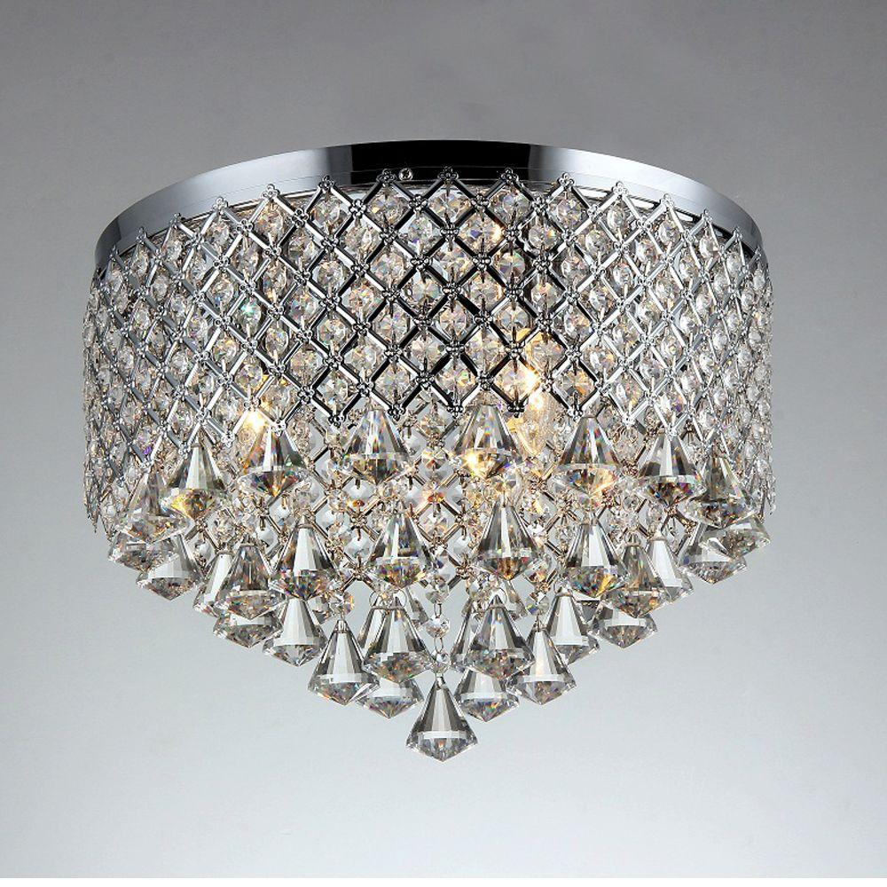 Trey 3 Light Chrome Indoor Crystal Flush Mount
