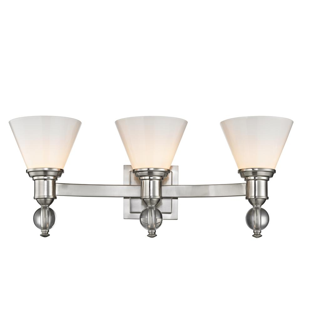 Home Decorators Collection 3-Light Satin Nickel Sconce with Opal Glass Shades