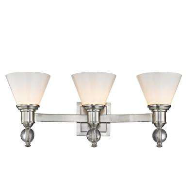 3-Light Satin Nickel Sconce with Opal Glass Shades