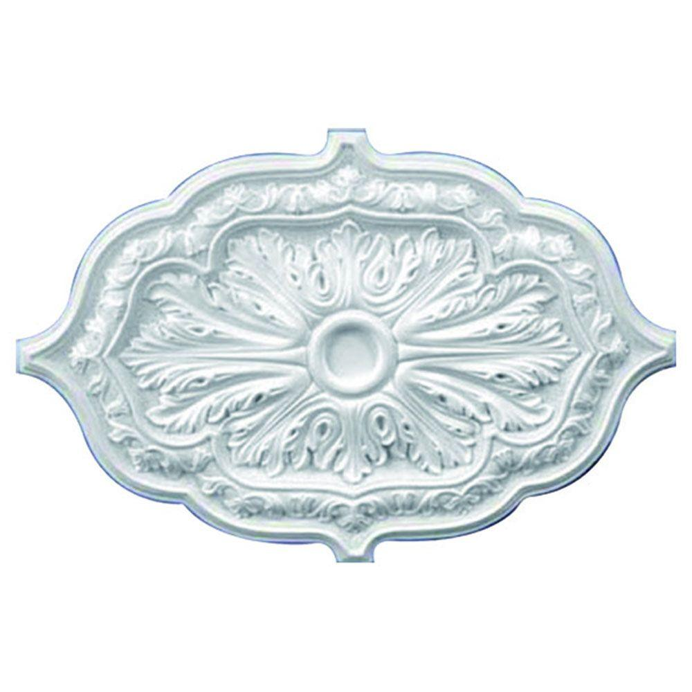 American Pro Decor 36 in. x 26 in. x 1-5/8 in. Leaf Polyurethane Oval Ceiling Medallion
