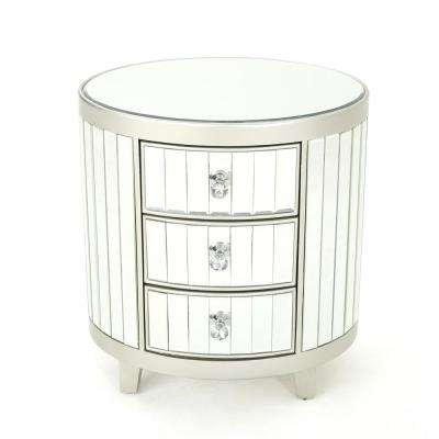 Francine 3-Drawer Mirrored Chest with Champagne Silver Hardwood Accents