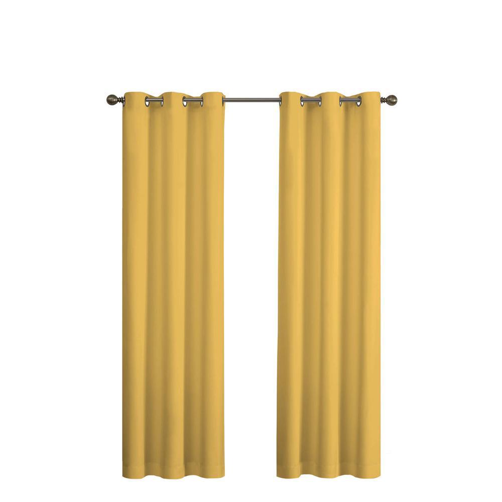 Microfiber Blackout Window Curtain Panel in Ochre - 42 in. W x 84 in. L
