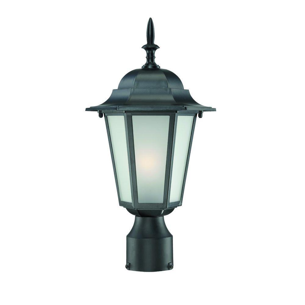 Camelot 1-Light Matte Black Outdoor Post-Mount Light Fixture