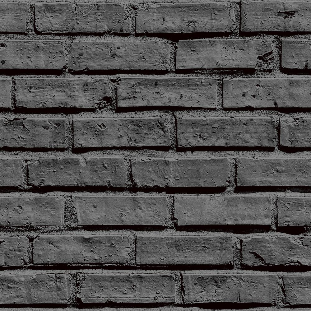 Arthouse Black Brick Effect Unpasted Wallpaper-623007 ...