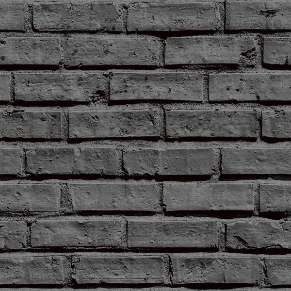 Arthouse Black Brick Effect Unpasted Wallpaper 623007 ...
