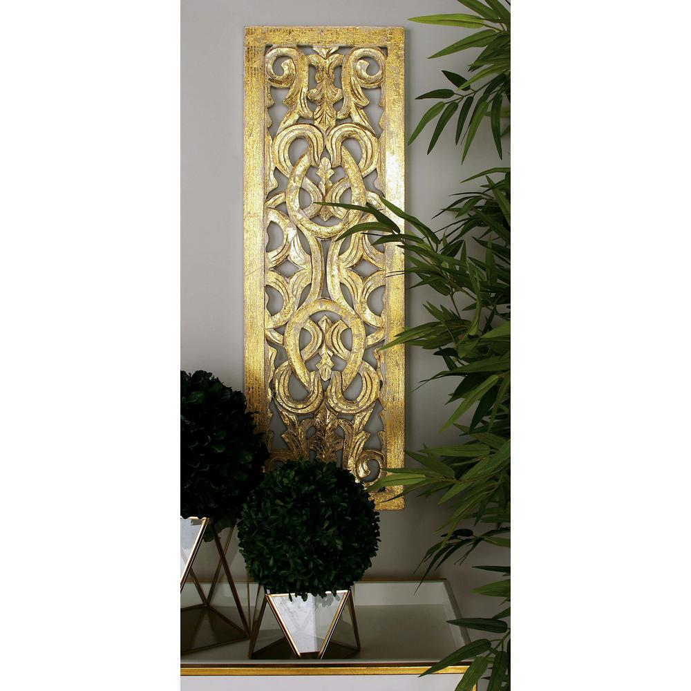 Litton Lane 12 In X 36 In Gold And White Wooden Scroll And