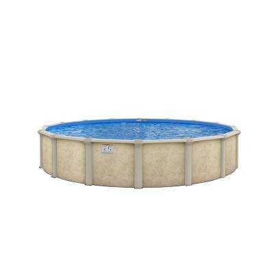 Serenity 24 ft. Round 52 in. Deep Above-Ground Pool Package with 8 in Top Rail
