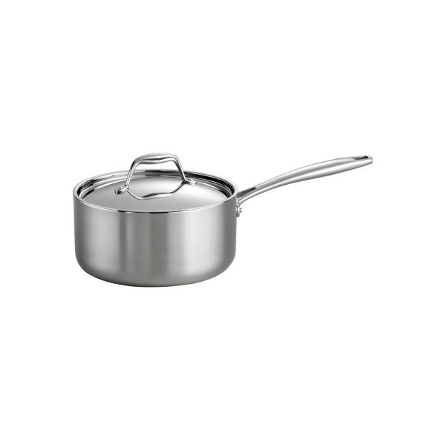 Gourmet Tri-Ply Clad 3 qt. Stainless Steel Sauce Pan with Lid