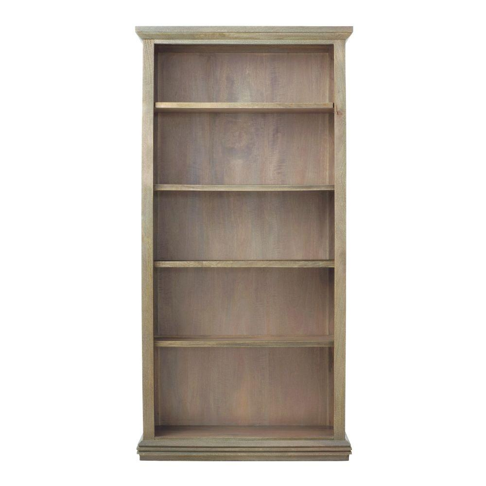 72 in. Antique Gray Wood 5-shelf Standard Bookcase with Adjustable Shelves