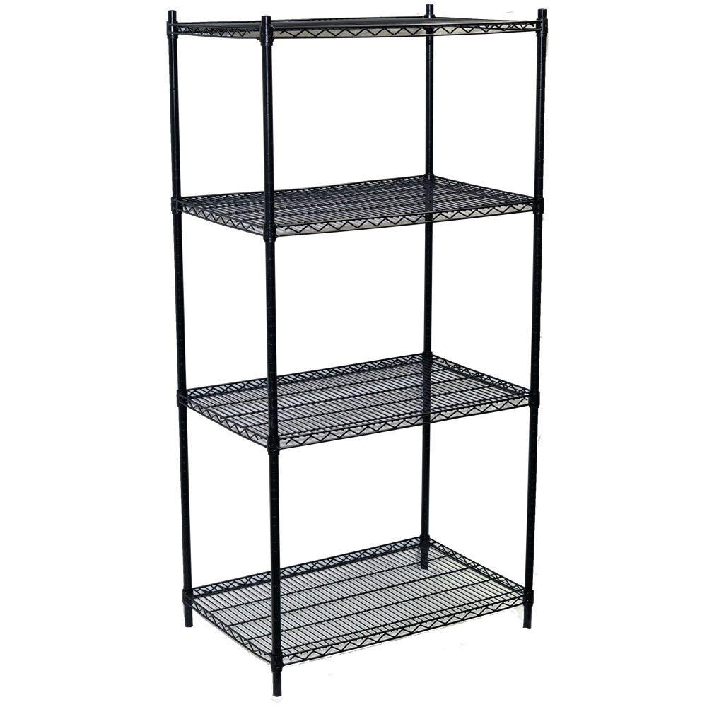 86 in. H x 36 in. W x 18 in. D 4-Shelf Steel Wire Shelving Unit in Black