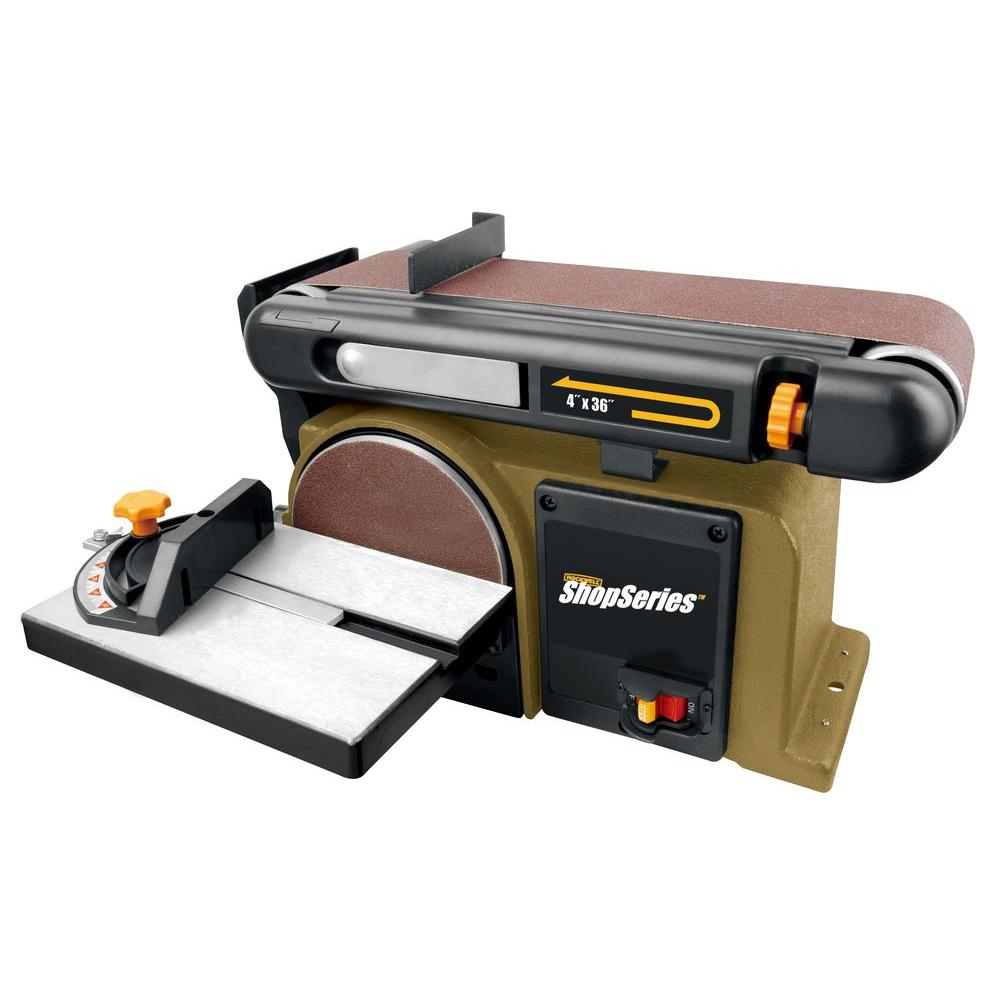 Rockwell 4 3 Amp 6 In Disk 4 In X 36 In Belt Sander Rk7866 The Home Depot