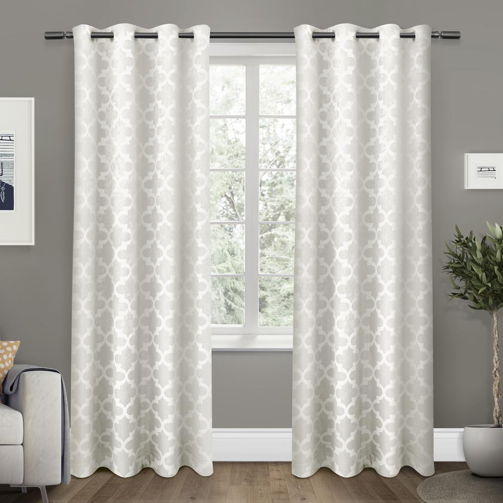 Cartago 54 in. W x 108 in. L Woven Blackout Grommet Top Curtain Panel in Vanilla (2 Panels)