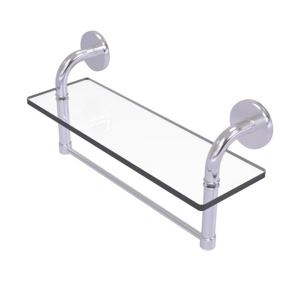 Allied Brass Remi Collection 16 In Glass Vanity Shelf With Integrated Towel Bar In Satin Chrome Rm 1 16tb Sch The Home Depot