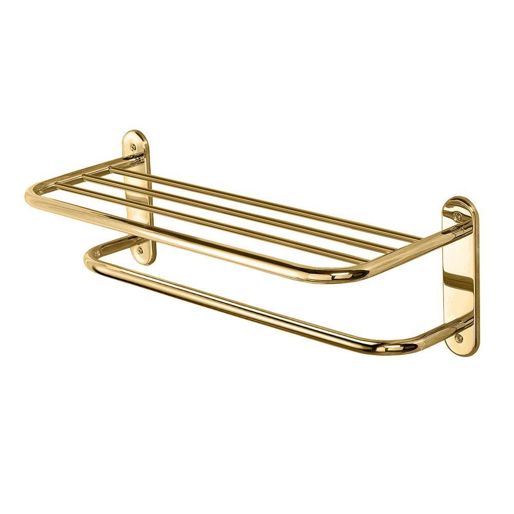 10.5 in. L x 8.45 in. H x 26.3 in. W Towel Bathroom Shelf in Brass