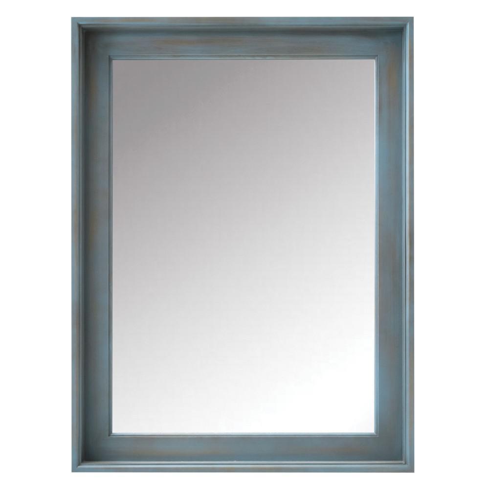 24 in. W x 32 in. H Framed Rectangular  Bathroom Vanity Mirror in Blue Wash