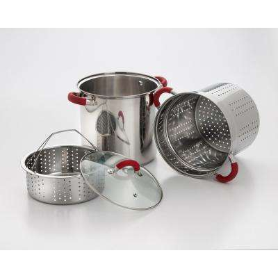 8 Qt. Stainless Steel Multi-Cooker Pasta Pot with Lid and Red Silicone Handles